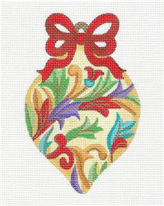 Ornament~Jeweled Leaves & Red Bow Ornament handpainted Needlepoint Canvas by Alexa
