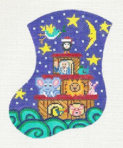 Stocking~Noah's Ark & Animals Mini Stocking Ornament HP Needlepoint Canvas by Meredith