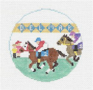 Travel Round~Del Mar Race Track in California handpainted Needlepoint Canvas~by Kathy Schenkel**MAY NEED TO BE SPECIAL ORDERED**