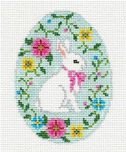 Egg~ White Bunny Surrounded by Flowers Egg HP Needlepoint Canvas S. Roberts