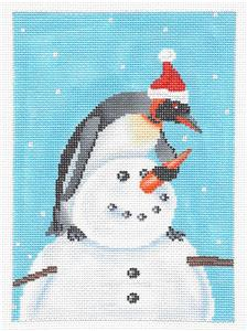 Canvas-Penguin Building a Snowman Handpainted Needlepoint canvas Scott Church