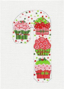 Medium Candy Cane Cup Cakes handpainted Needlepoint Canvas by CH Designs ~ Danji ***SPECIAL ORDER***