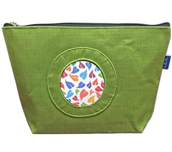 "Accessory~Silk Zip Clutch Purse Bag in Green for 2.75"" Rd. Needlepoint Canvas by LEE"