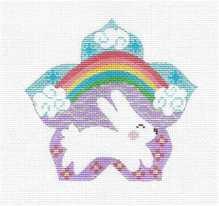 Canvas- Rainbow Bunny & STITCH GUIDE handpainted Needlepoint Canvas by CH Design Danji