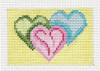 Canvas~ Three Hearts to fit Planet Earth ID TAG handpainted Needlepoint Canvas N.Crossings