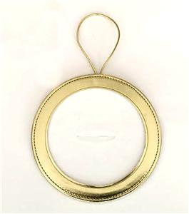 "Accessory~ Gold Metallic Leather Hanging Ornament Holder for 4"" Needlepoint Canvas by LEE"