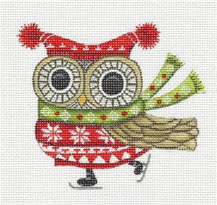 "Canvas~""Nordic Owl"" handpainted Needlepoint Ornament Canvas by L. Siebert ~ Pony"