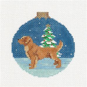 Christmas~Golden Retriever Dog Ornament handpainted Needlepoint Canvas Susan Roberts