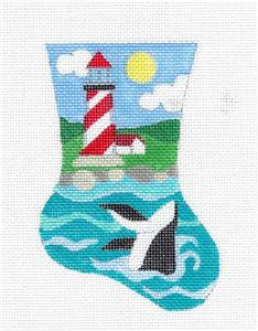 Stocking~Lighthouse & Whale Mini Stocking handpainted Needlepoint Ornament Raymond Crawford