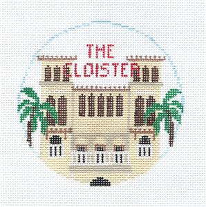 Travel Round ~ THE CLOISTER ~ 5 Star Resort in Sea Island, Georgia handpainted Needlepoint Ornament Canvas by Kathy Schenkel RD.