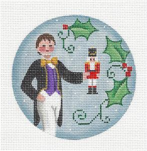 Round ~Nutcracker FRITZ Ornament Regal handpainted Needlepoint Canvas by Rebecca Wood~MAY NEED TO BE SPECIAL ORDERED