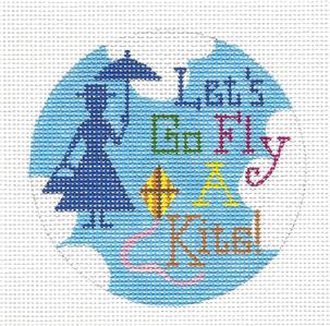 "Round~Mary Poppins ""Let's Go Fly a Kite"" Ornament HP Needlepoint Canvas by R. Crawford"