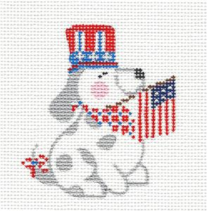Canvas-Patriotic PUPPY handpainted R,W & B Needlepoint Canvas CH Designs ~ Danji