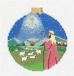 Christmas~Shepherd, Sheep & Star Ornament handpainted Needlepoint Canvas by Susan Roberts