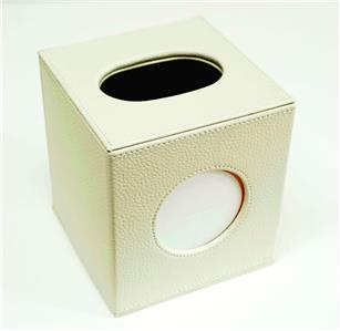 Accessories-Square Tissue Box in Cream Leather for a Needlepoint Canvas by LEE