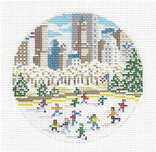 "Round~4"" Ice Skating Rink NYC handpainted Needlepoint Canvas by Needle Crossings"