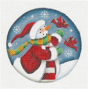 Round ~Snow Lady & Cardinals handpainted Needlepoint Canvas Ornament Rebecca Wood