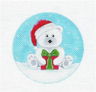 Round~Polar Bear Santa with Gift handpainted Needlepoint Ornament Canvas Pepperberry