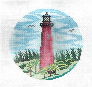 "Round~4""JUPITER, FLORIDA Lighthouse painted Needlepoint Ornament Canvas Needle Crossings"