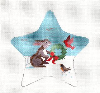 Christmas~Star Bunny with Birds Ornament handpaint Needlepoint Canvas Susan Roberts ***SPECIAL ORDER***