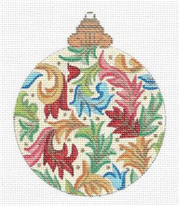 Ornament~Florentine Leaf Swirls Ornament handpainted Needlepoint Canvas by Alexa
