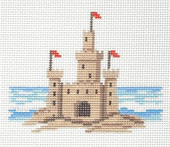 Canvas~Summer SANDCASTLE handpainted Needlepoint Canvas Ornament Susan Roberts