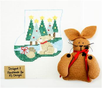 Canvas~Rabbit & CANVAS SET ~ HP Needlepoint Canvas Ornament by Kathy Schenkel ***SPECIAL ORDER***