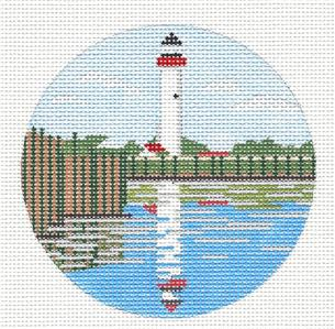 "Round- ""Cape May Lighthouse"" New Jersey handpainted Needlepoint Canvas by Purple Palm"
