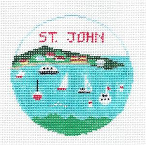 Travel Round~St. John Virgin Islands handpainted Needlepoint Canvas Kathy Schenkel RD**MAY NEED TO BE SPECIAL ORDERED**