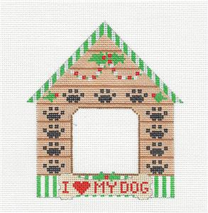 Canvas- DOG HOUSE Picture Frame Paw Print HP Needlepoint Ornament by CH Designs ~ Danji