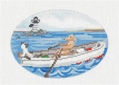 Sea Dog & a Cat handpainted Needlepoint Canvas Ornament by Ciao Bella