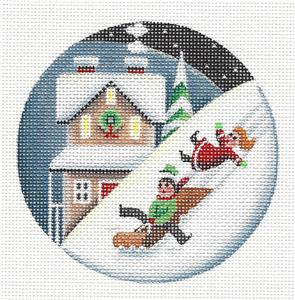Round ~ Children Sledding Ornament handpainted Needlepoint Canvas by Rebecca Wood *** MAY NEED TO BE SPECIAL ORDERED***