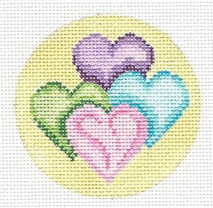 "Round~3"" Four Pastel Hearts Ornament handpainted Needlepoint by Needle Cros"