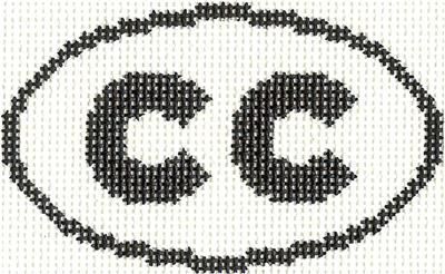"Oval~""CC"" CAPE COD, MASSACHUSETTS Sign handpainted Needlepoint Canvas Silver Needle"