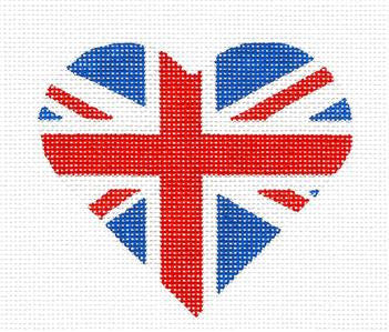 Heart~Union Jack Heart handpainted Needlepoint Ornament Canvas by Pepperberry