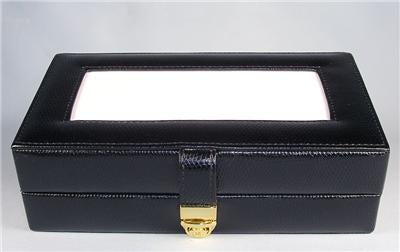 Accessory~LEE Black Leather Jewelry Box with Interior Compartments for Needlepoint Canvas