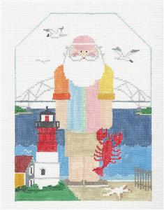 Canvas~CAPE COD SANTA large handpainted Needlepoint Canvas Design ~ Kathy Schenkel