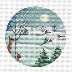 Round ~ Moonlight & Snowy Landscape handpainted Needlepoint Canvas Rebecca Wood *** MAY NEED TO BE SPECIAL ORDERED***