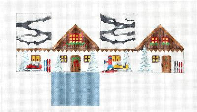 3D SKI CHALET 3-D Building handpainted Needlepoint Ornament by Susan Roberts