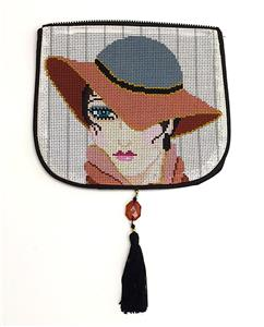 "Bag Flap ~*FLAP ONLY* Lady in Hat Evening Bag ""Style B"" handpainted Needlepoint Canvas by Sophia"