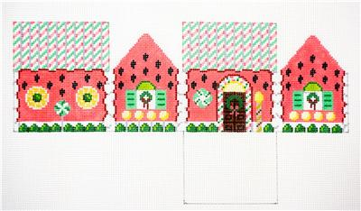 3D WATERMELON 3-D Gingerbread House HP Needlepoint Ornament by Susan Roberts