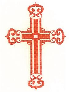 "Cross~  Elegant 7"" tall Red-Orange CROSS handpainted Needlepoint Canvas by LEE"