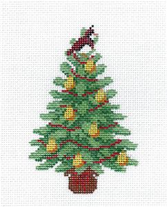 Christmas~PARTRIDGE IN A PEAR TREE Ornament handpainted Needlepoint Canvas Susan Roberts