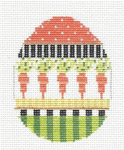 Kelly Clark - Easter Carrot Garden Egg handpainted Needlepoint Canvas by Kelly Clark
