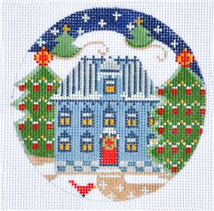 Round- Village Series Blue House with Red Door HP Needlepoint Ornament CH Designs Danji
