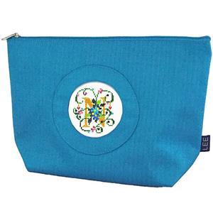 "Accessory~ Silk Zip Clutch Purse Bag in Blue for 2.75"" Rd. Needlepoint Canvas by LEE"