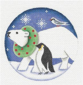 Round ~ Polar Bear, Penguin & Bird Ornament handpainted Needlepoint Canvas Rebecca Wood *** MAY NEED TO BE SPECIAL ORDERED***