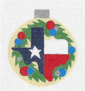 Round~Texas Wreath State & Starhandpainted Needlepoint Ornament by Raymond Crawford