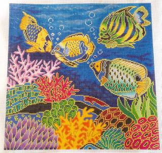 "Canvas ~  Tropical Coral Reef & Fish handpainted Needlepoint Canvas 16"" by 16"" 12 mesh by LEE"