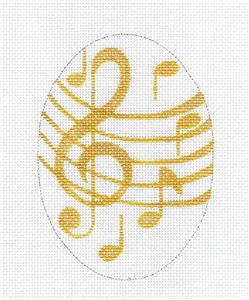 Oval~Golden Music Notes Oval HP Needlepoint Ornament Canvas by Raymond Crawford